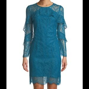 NWT $159 Nanette Lepore Teal Ruffle Lace Dress 12